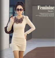 2014 new hot fashion spring women clothes sexy cute ladies fall dresses Chest long-sleeved dress butterfly flower accessories