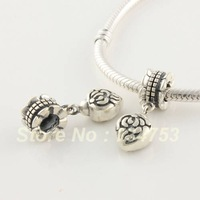Authentic 925 Sterling Silver Vintage Rose Flower Dangle Charm Bead, Love Heart Jewelry For European Thread Charm Bracelet