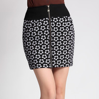 Autumn patchwork print zipper bust skirt short skirt slim bud skirt hip skirt step