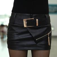 Free Shipping Fashion Women's PU Skirts 2013 New In Sexy Zipper Embellished Skirts Slim Hip Female PU Mini Skirts With Belt