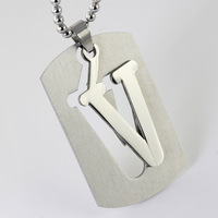 Twenty-six Letters 5.1*3.1cm 18.5g 316L Stainless Steel Silver Letter V Unisex Pendant Necklace DIY Charms Personality Jewelry