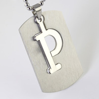 New Twenty-six Letters 5.1*3.1cm 18g 316L Stainless Steel Silver Letter P Unisex Pendant Necklace DIY Charms Jewelry , Good Gift