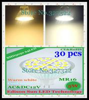FedEX Free Shipping 30pcs SMD 5050 24 LED 5W MR16 AC110-240V / AC&DC12V High Quality LED Spotlight Bulb LED light Downlight lamp