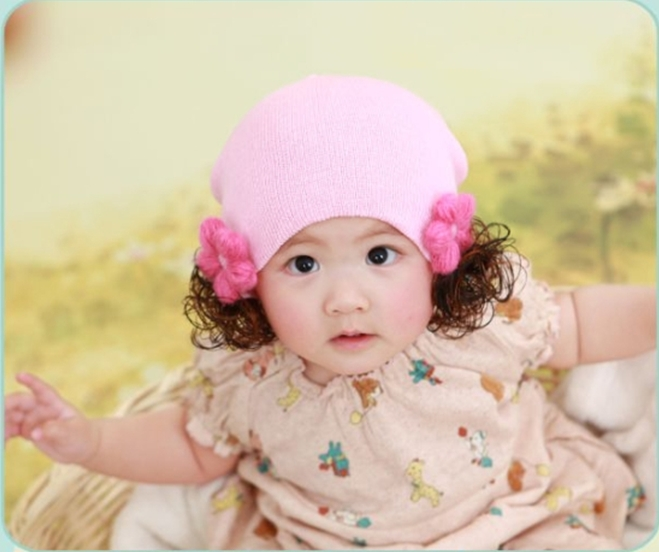 2013 Hot-selling winter baby caps princess lace wig hair band baby wig flower pocket hat wig hat 6 colors(China (Mainland))