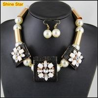 Metal Gold Tube Rhinestone Pearl Chain Black Mesh white stone plate earring Choker Collar Statement Necklace Jewelry Set,B70