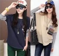 2013 Korean New Autumn Women Tops Tees Splicing Long Batwing Sleeve Stripe Loose T-shirt For Women Free Shipping