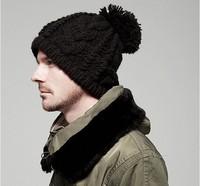 Free shipping solid adult men and women twist crochet pullover wool hat winter tide models