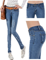 2014 New Arrival Women's Autumn Denim Bleached Scratched skinny elastic pencil Jeans/pants female trousers,Free Shipping