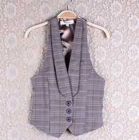 Free shipping+Cabbage price of the autumn vest fashion plaid patchwork blazer vest k2