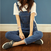 Mushroom women's 2013 autumn loose spaghetti strap denim trousers suspenders denim trousers