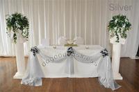 1 silver 5M*1.35M organza sheer organza fabric for wedding backdrop decorate