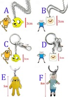 Best Selling Kawaii Brinquedos Popular Anime Adventure Time Old Leather Dog Cartoon Keychain Necklace 20Pcs/lot Free Shipping