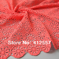 fashion style red good quality guipure embroidered fabric cotton lace