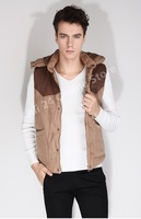 2013 / winter new men's vest / Slim thick hooded mixed colors / casual cotton vest waistcoat Trendy--Free shipping