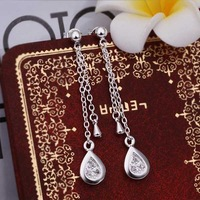 Hot Sell!Wholesale 925 silver earring,925 silver fashion jewelry Earrings,Inlaid Stone Zircon Drop Earring SMTE386