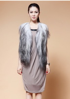 FS835061 Fashion V-neck Genuine Goat  fur Vest Gilet Cape Shawl 2 Colors wholesale / Retail / OEM Drop-shipping Top Quality