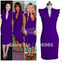 New Womens' Deep V-Neck Petal Sleeve Stretchy Pencil Dress  Purple  color