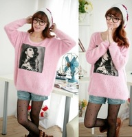 Autumn new arrival 2012 women's fashion loose batwing sleeve sweater outerwear applique horse long-sleeve sweater