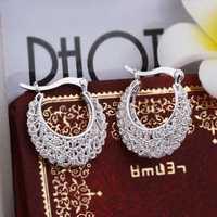 Christmas Gift!!Wholesale 925 Silver Earring 925 Silver Fashion Jewelry,Openwork Flower Earrings SMTE329