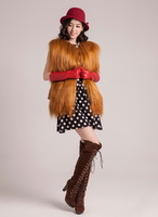 FS835062 Fashion V-neck Genuine Goat  fur Vest Gilet Cape Shawl Camel  wholesale / Retail / OEM Drop-shipping Top Quality