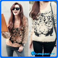 Women Batwing Sweater Tiger Knitted Sweater Tiger Print Long Sleeve Jumper Pullover Sweater Free Shipping Dropshipping FA01