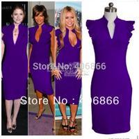 New Fashion Womens' Deep V-Neck Petal Sleeve Stretchy Bodycon Dress purple