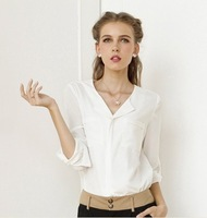 r.beauty spring and autumn new Women Korean version of casual long-sleeved shirt pocket big yards chiffon shirt