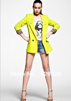 Free shipping 2013  Autumn Ladies  Fashion Elegant Candy Color  Suit Lapel Short Coat 0228