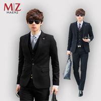 Male slim blazer casual men's 2 piece set suits the groom wedding dress
