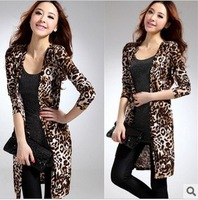 fashion women's plus size leopard print design long trench outerwear milk silk shawl coat