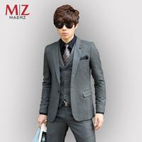 Blazer set business male suit 2013 male married groom wear slim suit 3 pieces( suit + vest + pants)
