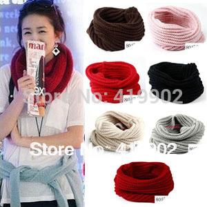 Fashion Women Warm Knit Neck One Circle Wool Blend Cowl Snood Ring Scarf Shawl Wrap Collar(China (Mainland))