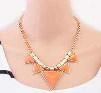 Min Mix Order $15 Free Shipping Fashion Big Resin Choker Necklace Punk/Pop Style Triangle Pendant Necklace Wholesales