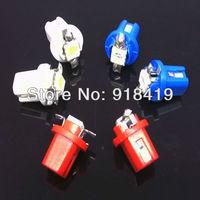 Free Shipping 10x T5 LED Lamp B8.5D Car Gauge 5050 1 SMD Speedo Dashboard Dash Side Light Bulb White Blue Red