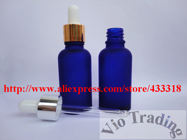 small empty glass dropper bottles,30ml blue frost essential oil parfume vials,aluminum airless droppers,cosmetics container jars(China (Mainland))