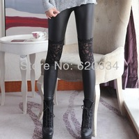 New Arrival Black PU Leather and Lace Patchwork Leggings Fashion Sexy Slim Flowers On The Knee For Spring or Autumn WL018