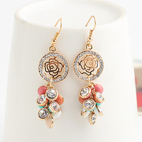 flowers round long earrings multicolor hot sale  accessories Brincos womens stud earrings girl's fashion 2013 wholesale E9226