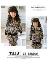 Gold velvet children clothing set 2 pcs leopard sport suit boy's girl's Hooded Sweater coat +pants Leggings whole suits outfits