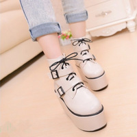 Fashion spring and autumn ultra high platform boots female wedge heels comfortable martin boots