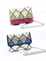 Fashion summer 2013 rv rhombus geometry patchwork color block women's handbag chain shoulder bag messenger bag