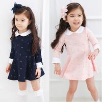 Spring and autumn girls clothing 2013 child one-piece dress baby cotton 100% peter pan collar princess dress