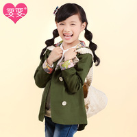 Children's clothing overcoat female child 2013 autumn girl child medium-long medium-large trench outerwear