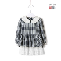 2013 autumn fashion girls clothing child baby 100% one-piece cotton dress shirt cute shirt
