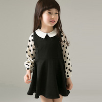 2013 children's clothing autumn female child dress one-piece preppy style polka dot long-sleeve child princess dress