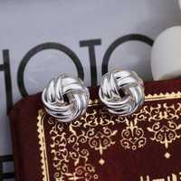 Hot Sell!Wholesale 925 silver earring,925 silver fashion jewelry Earrings,Woven Button-Shaped Earring SMTE377