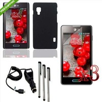 ZM1 Black Rubber Case Cover+Car Charger+LCD+Pen For LG Optimus L5 ii E460