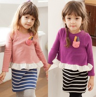 Children's clothing 2013 autumn stripe cartoon rabbit child one-piece dress