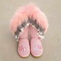 2015 new  Fashion Women Genuine Leather Snow Boots Fox Fur Pearl Flats Casual Shoes Pink Rhinestone Flats