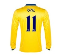 New 13/14 Arsenal Away Long Sleeve Jerseys #11 Mesut Ozil Yellow Shirt Football kit 2013-14 Cheap Soccer Unforms free shipping