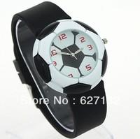 Free Shipping Black Football Design Sports Quartz Wristwatch Rubber Watch Band